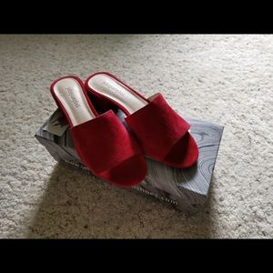 Jeffrey Campbell Red Suede Mules
